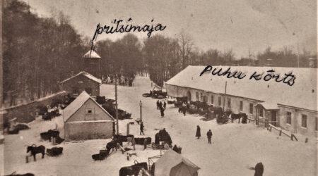 Põltsamaa vanadel fotodel: Lumine turuplats ja Vana-Põltsamaa mõisa kõrts 1902. aasta 17. märtsil. Foto Põltsamaa Muuseumist.